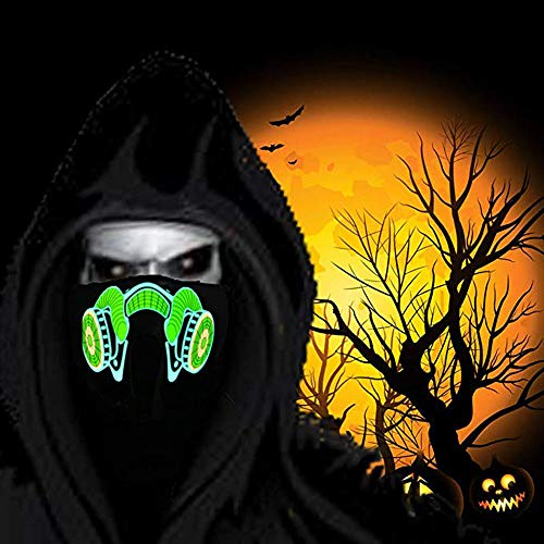 GridNN Halloween Sound Reactive Half Face Frightening LED Halloween Easter Rave Mask Luminous Costume Mask Easter Decor (D) -