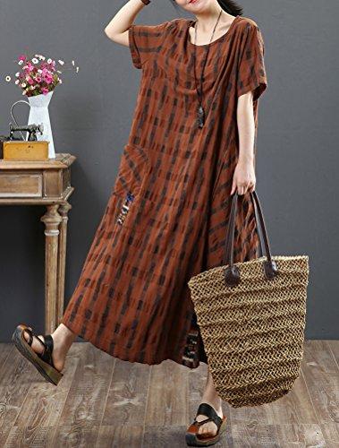 Donna Righe Abito Caffè Manica Mallimoda A Corta Dress Maxi Vestito aqd6n7w