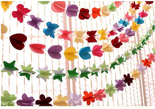 3D Colorful Curtain Hanging Paper Flower(6.6ft X5strings) Polka Dots,Love Heart, Stars, Butterflies, Flower Hanging Paper Party Streamers for Tree DoorDecoration, Wedding Birthday Party Supplies]()