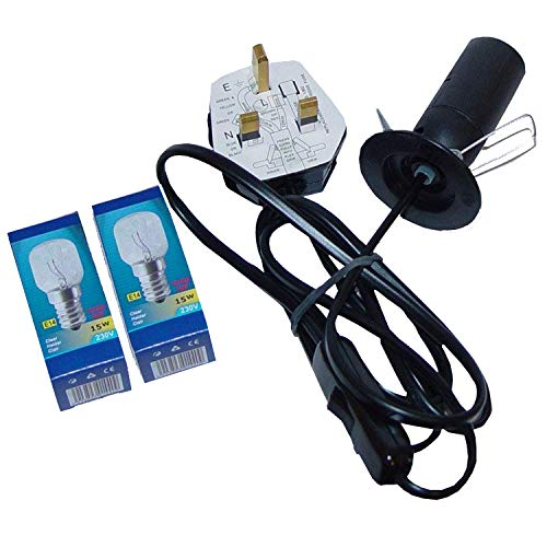 UK Salt Lamp Replacement Electrical Lamp Light Fittings 2 Metal Clip Wire – Spare Black Cable UK 3Pin Plug+Bulb