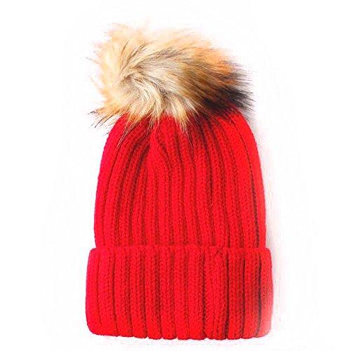 Accessoryo Femme En Chapeau Brun Tricoté Fourrure Pompon Pour Bonnet De Avec Rouge Fausse SxSB4qrwY