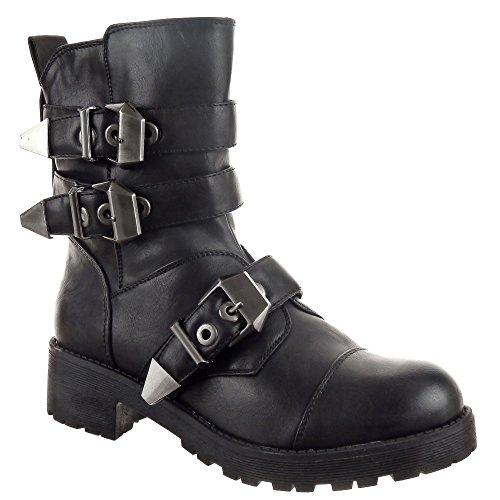 Sopily–Chaussure modo Bottine Motard Cavalier Montante Femmes–Guante de Talon Bloque 4cm–Noir