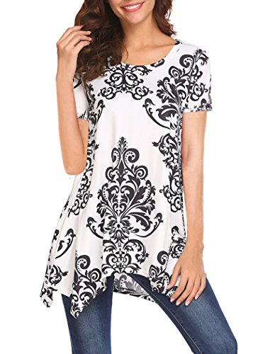 Halife Woman's Vintage Scoop Neck Paisley Tunic Blouse Long Flowy Tops Shirt White1 XL - Paisley Vintage Blouse