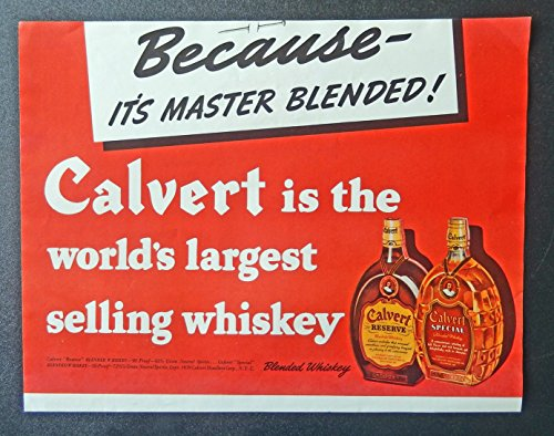 Calvert Whiskey. 30's Print ad. Color Illustration. Scarce old ad. (reserve and special) Original 1939 Collier's Magazine Art ()