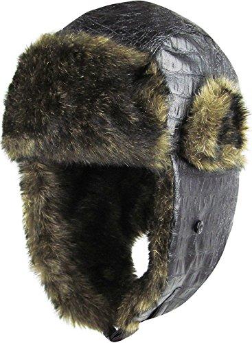 KBW-607 BLK PU Faux Leather Aviator Trooper Trapper Hat Winter Cap -