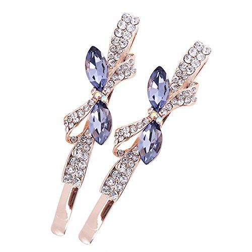 Casualfashion 1 Pair Fashion Rhinestone Crystal Hair Barrettes Bow-knot Hair Bangs Clips Pins Accessories for Women Girls (Purple) ()