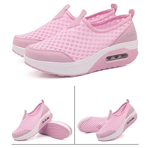 Léger Chaussures Sport Plateforme Femme Mailles Baskets Gym Compensée Fitness Rose De Hishoes Marche gxqpTYwUA