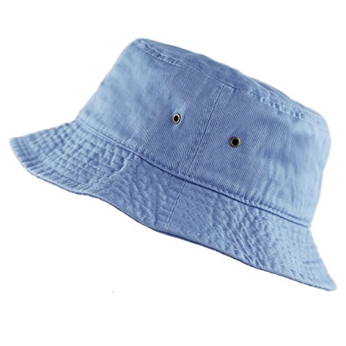 The Hat Depot 300N Unisex 100% Cotton Packable Summer Travel Bucket Hat (L/XL, Sky Blue) (Blue Denim Bucket Hat)