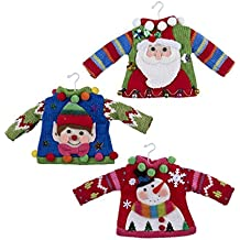 Kurt Adler Ugly Sweater Ornaments - Santa, Elf, Snowman