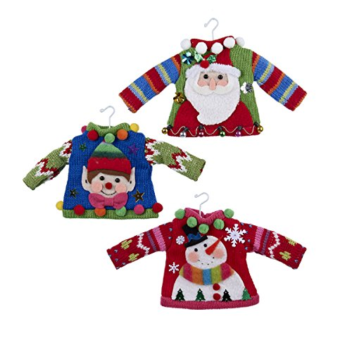 Kurt Adler Ugly Sweater Ornaments - Santa, Elf, Snowman