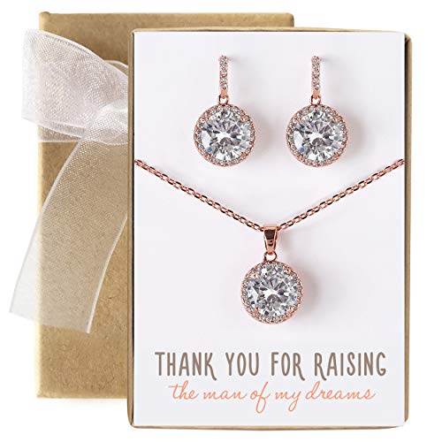 - AMY O Gift for Mom, Mother in Law - Necklace and Earrings Jewelry Set in Rose Gold