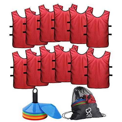 (Soccer Cones (Set of 50) and Sports Jerseys Pinnies (12-Pack) - Perfect Disc Cones for Basketball Drills, Complete Soccer Training Equipment)