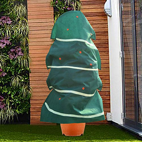 Agfabric Plant Covers Decorative Warm Worth Frost Blanket Protecting Bags for Outdoor/Indoor Christmas Trees Dark Green,H85 xW74