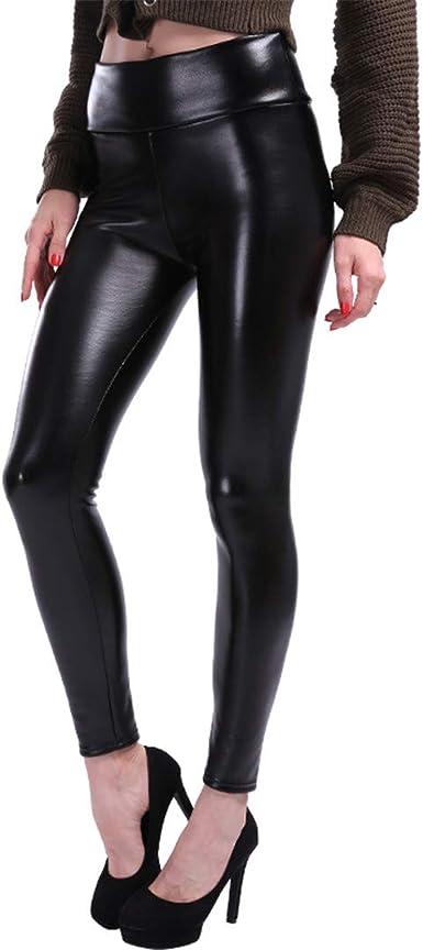 Womens Push UP Pants Leggings Ladies PU Leather Wet Look Stretch Skinny Trousers