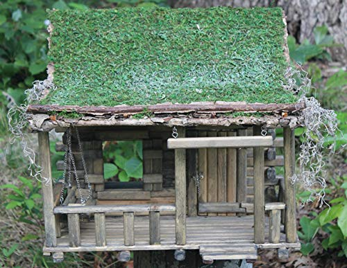 Primitive Log Cabin Sod Roof 1:12 Scale Dollhouse ()