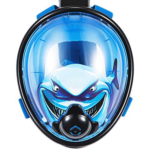 Aztine Blue Full Face Snorkel Mask for Kids, 180 Degree Panoramic Breathing Free Dry Anti Fog Anti Leak Nose Exhale Diving Mask, The Children Will Become a Shark