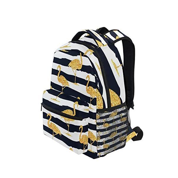 DXG1 - Zaino a righe color oro con fenicottero, da donna, per ragazzo, per scuola, scuola, viaggi, università, grande… 3 spesavip
