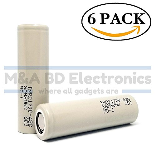 Samsung INR21700-48G 9.6A / 35A Max 4800mAh High Drain Rechargeable Flat Top 3.6V Battery, (6 Pack) by M&A BD Electronics by M&A BD Electronics