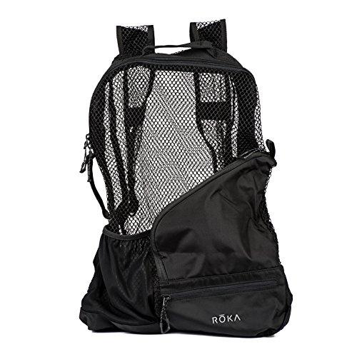 ROKA PRO Vent Zip Heavy Duty Black MESH Swim Equipment Backpack (30 Liter) for Men and Women