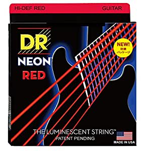 dr strings hi def neon red coated medium 10 46 electric guitar strings musical. Black Bedroom Furniture Sets. Home Design Ideas