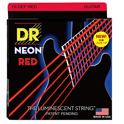 DR Strings Hi-Def NEON Red Coated Light  Electric Guitar Str