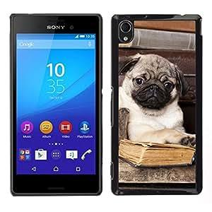 EJOY---Cubierta de la caja de protección para la piel dura ** Sony Xperia M4 Aqua ** --Pug libro Biblioteca Cute Puppy inteligente perro