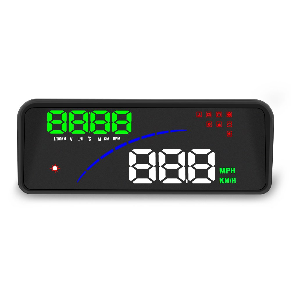 P9 Universal Car HUD Display,OBD2 Smart Digital Meter Head Up Display with 2 Display Way Over Speed Warning Alarm Water Temperature Voltage Compatible for All Car with OBD II,EUOBD