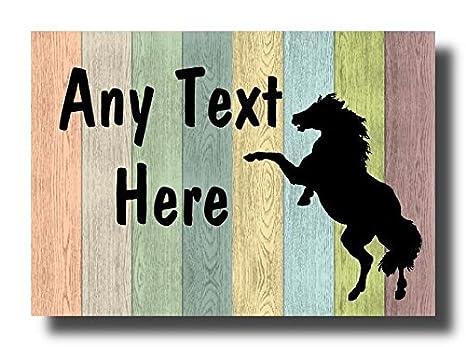 Pastel caballo madera caballo A6 puerta de la pared valla puerta casa signo placa: Amazon.es: Oficina y papelería