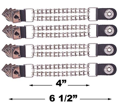 - Dream Apparel 4 Pcs Per Set Deadman Hand Vest Extender Double Biker Chain Chrome Chain