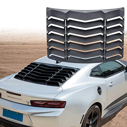 Yoursme Rear Window Louvers Matte Black Sun Shade Windshield Cover in Lambo Style for 2016 2017 2018 2019 Chevy Chevrolet - Camaro Windshield
