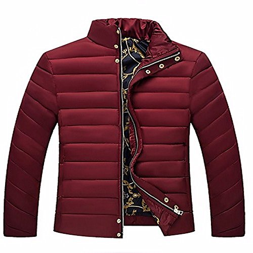 ZHUDJ Men's Regular Padded Coat,Simple Going Out Casual/Daily Solid-Cotton polypropylene Long Sleeves Wine