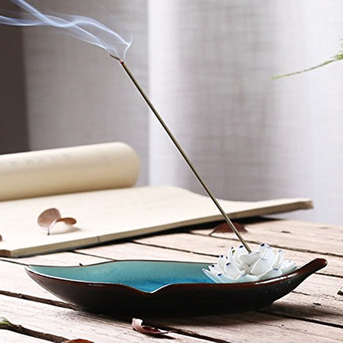 Censer Ceramic Handmade Artistic Incense Holder Burner Stick Coil Lotus Ash Catcher Buddhist Water Lily Plate Single Hole Round IN-013(Style1) - incensecentral.us