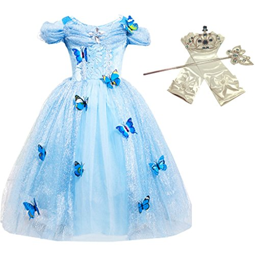 DreamHigh Princess Cinderella Princess Butterfly Costume Dress with Cosplay Accessorries Size 5-6 Years by DreamHigh