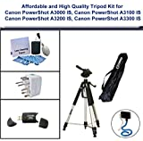 Affordable and Tripod Kit; Tripod, USB 2.0 Card Reader, 5PC Lens Cleaning Kit, Universal Adapter and Flexible Monopod for Canon PowerShot A3000 IS, Canon PowerShot A3100 IS, Canon PowerShot A3200 IS, Canon PowerShot A3300 IS
