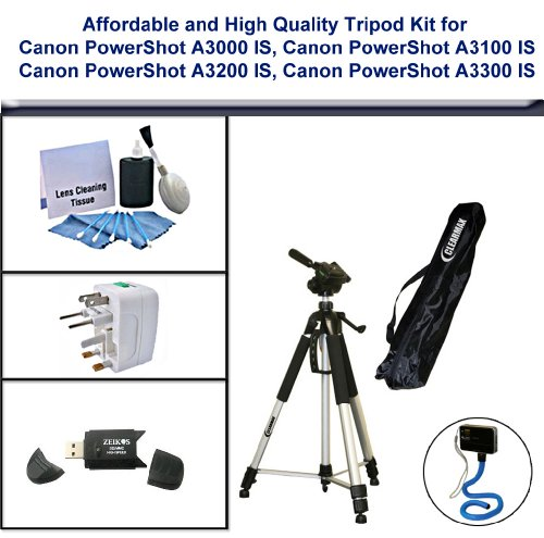 Affordable and Tripod Kit; Tripod, USB 2.0 Card Reader, 5PC Lens Cleaning Kit, Universal Adapter and Flexible Monopod for Canon PowerShot A3000 IS, Canon PowerShot A3100 IS, Canon PowerShot A3200 IS, Canon PowerShot A3300 IS by ClearMax