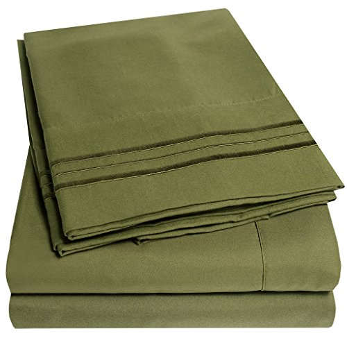 Microfiber Olive Green (1500 Supreme Collection Bed Sheets Set - PREMIUM PEACH SKIN SOFT LUXURY 4 PIECE BED SHEET SET, SINCE 2012 - Deep Pocket Wrinkle Free Hypoallergenic Bedding - Over 40+ Colors - Queen Size, Olive)