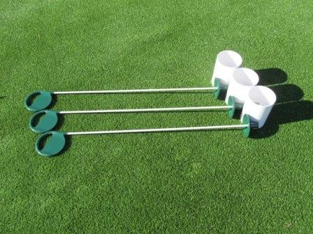 Golf Practice Putting Green - Natural or Synthetic - Deluxe Accessory Kit - (3) Bright White Plastic 6'' Deep Regulation Cups + (3) Green Executive Putting Green Pin Markers with Ball Lifter Disks