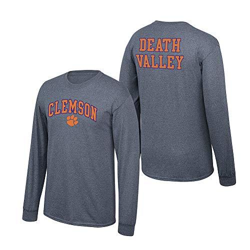 Elite Fan Shop NCAA Men's Clemson Tigers Long Sleeve Shirt Dark Heather Back Clemson Tigers Dark Heather XX Large
