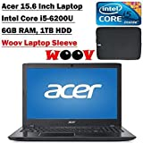 Acer Aspire E5 15.6 Inch Laptop with Woov Sleeve (Intel Core i5-6200U, 6GB DDR3, 1TB HDD, DVDRW, Bluetooth 4.1, Windows 10 Home, Black)