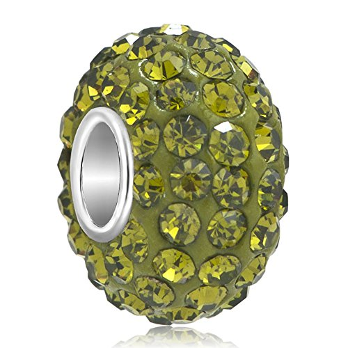 LovelyJewelry Aug Birthstone charms Peridot Color Swarovski Elements Crystal Beads Fit Pandora Bracelet
