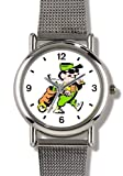 Golfer with Golf Bag (Caricature) - Golf Theme - WATCHBUDDY ELITE Chrome-Plated Metal Alloy Watch with Metal Mesh Strap-Size-Large ( Men's Size or Jumbo Women's Size )