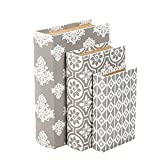 Hosley Storage Memory Book Box Set /3, Gray White Farmhouse Large 12'', Med 10'' Small 8'' High Ideal Gift for Wedding Memories Jewelry Trinket Hobby Keepsake Cash Pill Polish Gifts Letter File Photo P9