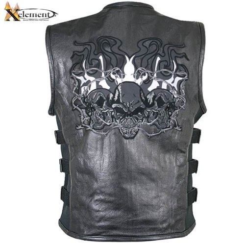 Xelement B95100 Mens Black Leather Motorcycle Vest with Straps and Reflective E - 3X-Large (Leather Motorcycle Vest 3x)