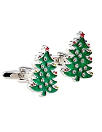 Green Christmas Tree Shaped Cufflinks