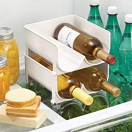 mDesign Juego de 4 Modernos estantes para Botellas – Botellero apilable para Botellas de Agua y cantimploras – Elegante vinoteca para la Cocina y la despensa – Crema/Beige