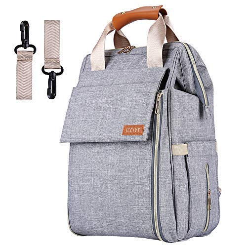 Nappy Changing Bag - Diaper Bag Backpack,Multifunction Waterproof Travel Diaper Backpack Maternity Baby Nappy Changing Bags for Mom/Dad with Changing Pad,Large Capacity,Waterproof,Stroller Straps and Stylish (B Grey)