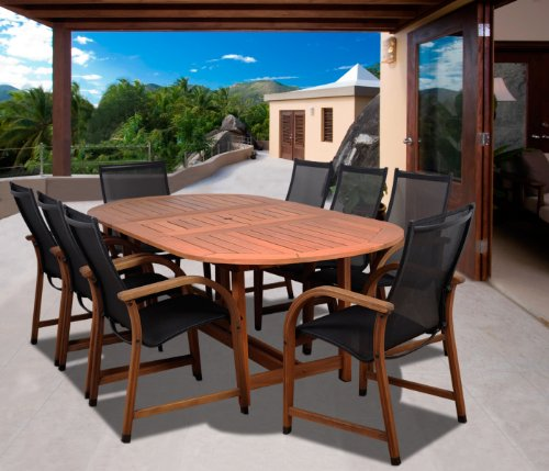 Amazonia Bahamas 9-Piece Eucalyptus Oval Dining Set - Amazonia Eucalyptus Collection 1 Oval Extendable Table 71Lx43Wx29H Extended Length:93. 8 Armchairs 22Wx23Dx37H. Seat Dimensions:18Wx18Dx18H. High Quality Eucalyptus Wood (Eucalyptus Grandis) - patio-furniture, dining-sets-patio-funiture, patio - 51oK9wDO20L -