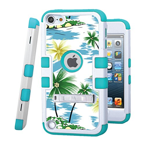 iPod touch 5 / 6 Case, CASECREATOR[TM] For Apple iPod touch 5th / 6th GEN () -- TUFF Hybrid Rubber Hard Snap-on Case White/Tropical Teal-Coconut Palm Tree (Case 5 Zebra Ipod Touch)