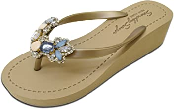 84956482a962d Sand by Saya York Comfortable Rubber Sandals with Thong Stripe and  Embellishment - Mid Wedge