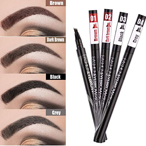 Eyebrow Pencil Black Brown Gray Liquid Eyebrows Pen Waterproof Eyebrow Tattoo Pens Long Lasting Pencil with a Micro-Fork Tip Dyed Long-Lasting Eye Makeup Tools Anti-Sweat (02# Dark Brown) (Best Grey Contacts For Dark Eyes)
